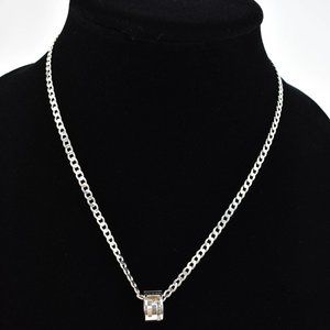 """GUCCI: Sterling Silver """"G"""" Circle Logo Necklace nu"""